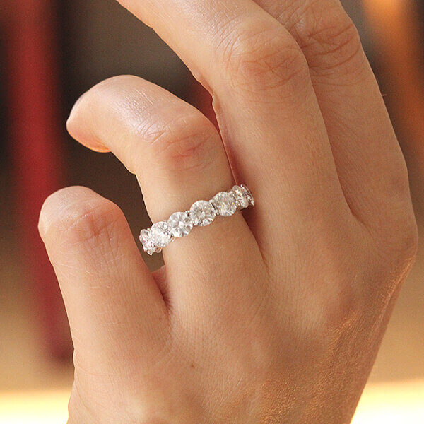 Round forever one moissanite eternity wedding ring by OroSpot