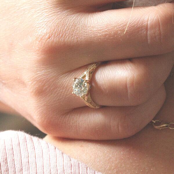 Split shank vintage inspired engagement ring designed by OroSpot