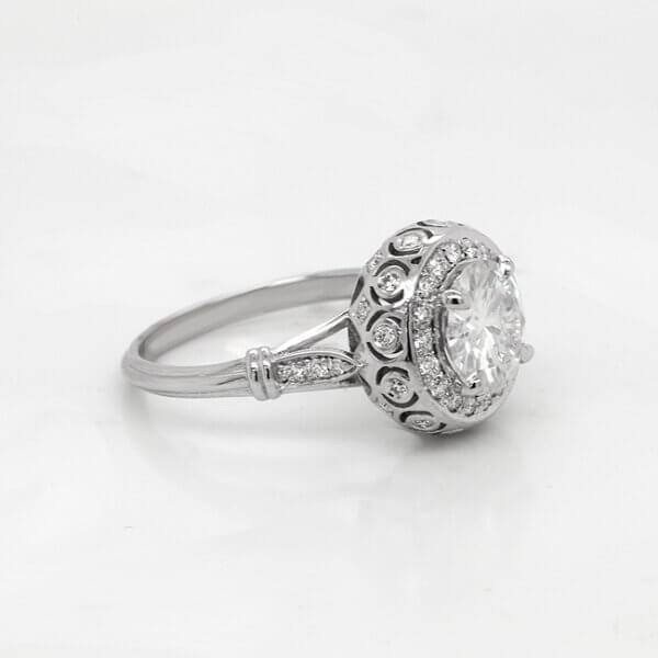 Vintage Bubble Diamond Engagement Ring