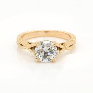Vintage Engraved Moissanite Engagement Ring