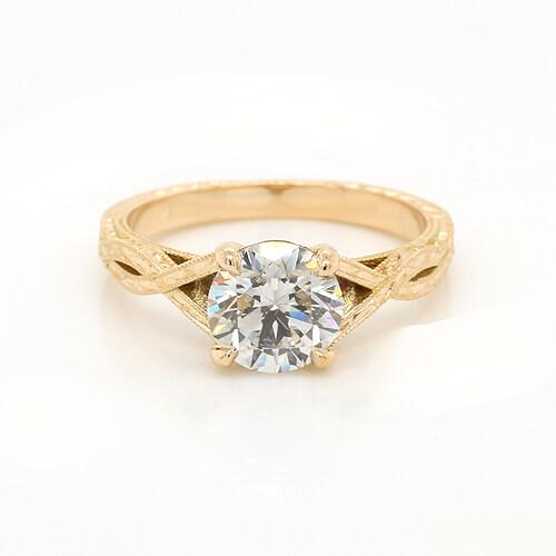 Vintage Engraved Moissanite Engagement Ring