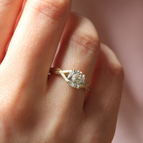 Vintage Inspired Engagement ring with Hearts and arrows Moissanite by OroSpot
