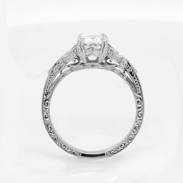 Vintage inspired forever one moissanite ring by OroSpot