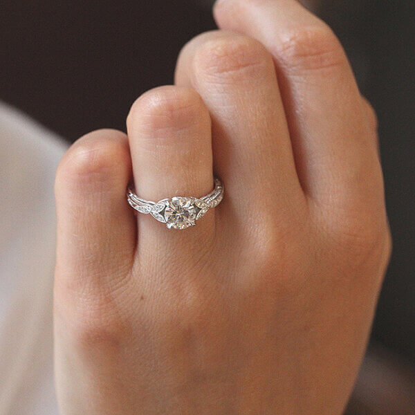unique hand carved Edwardiand promise ring with FOB moissanite OroSpot