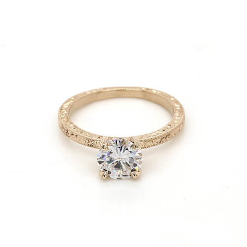 Antique style Forever One Moissanite engagement ring by OroSpot Custom Engagement Rings