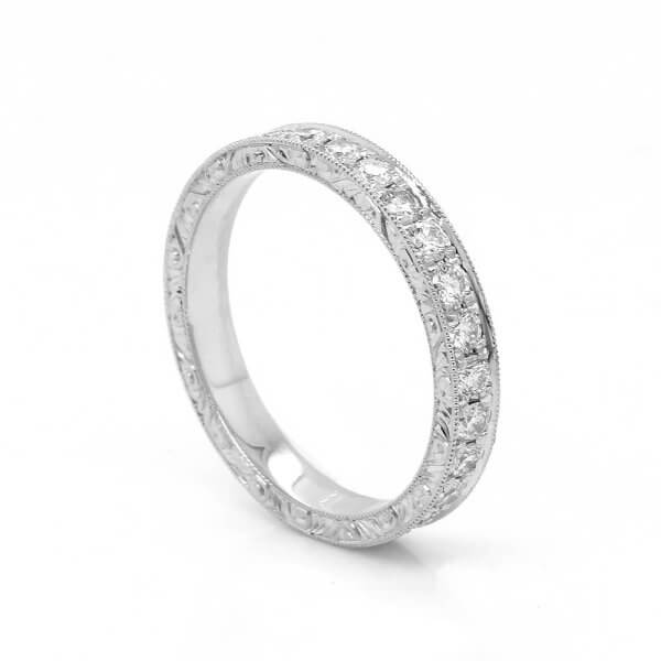 Art Deco inspired wedding ring with 1ct of diamonds, pave set OroSpot