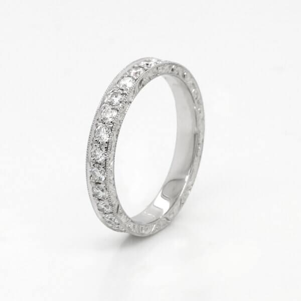 Bead set diamond eternity ring vintage style OroSpot