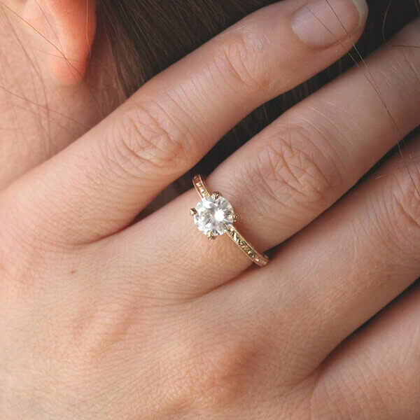 Elegant simplistic hand carved engagement ring by OroSpot