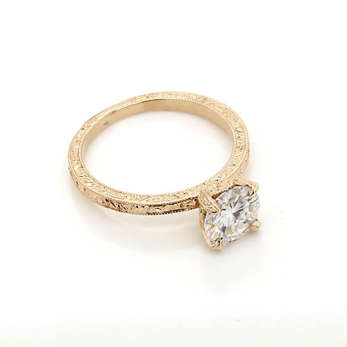 Hand carved, filigree engagement ring with round 7.5mm Moissanite by OroSpot