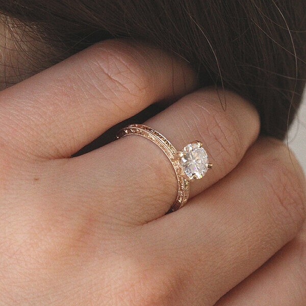 Hand engraved Moissanite engagement ring by OroSpot