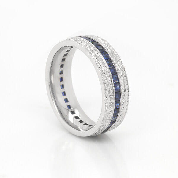 Men's Vintage Sapphire Wedding Ring