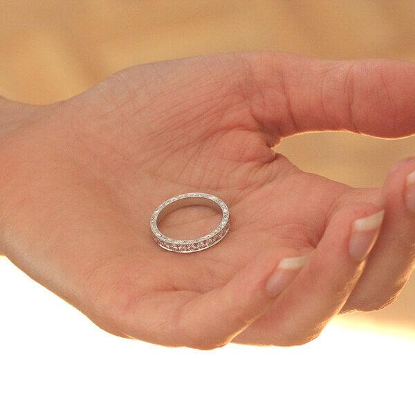Vintage hand engraved diamond eternity ring by OroSpot