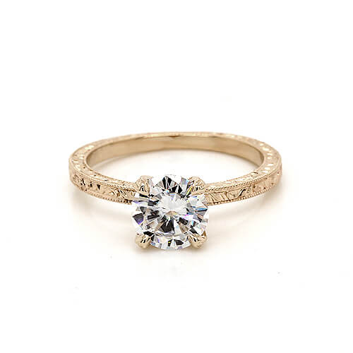 Vintage solitaire Moissanite engagement ring by OroSpot