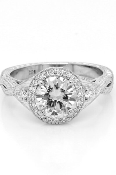 Moissanite vs Diamond featured image: Antique hand engraved Moissanite engagement ring by OroSpot