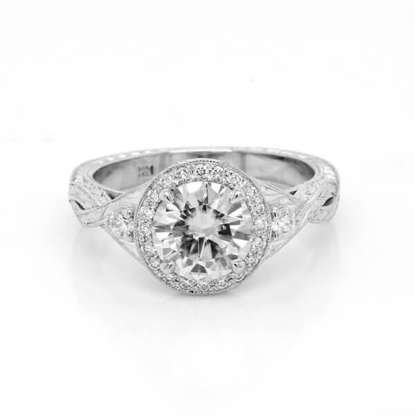 Moissanite vs Diamond featured image: Antique hand engraved Moissanite engagement ring by OroSpot - Custom Engagement Rings