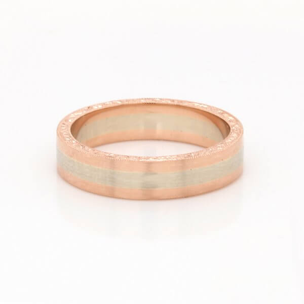 Antique inspired hand carved stripe gold band OroSpot