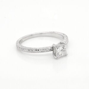 Budget vintage princess Moissanite engagement ring OroSpot