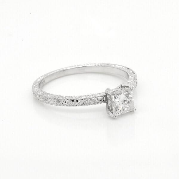 Budget vintage princess Moissanite engagement ring OroSpot