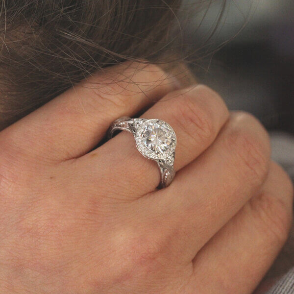 Edwardian diamond engagement ring with Moissanite and
