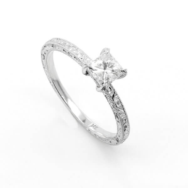 FOM engraved petite, delicate engagement ring OroSpot
