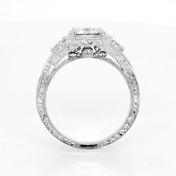 Filigree halo braided Moissanite engagement ring with diamonds by OroSpot