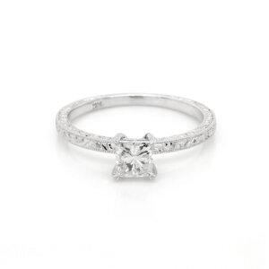 Hand engraved Art Deco princess promise ring OroSpot