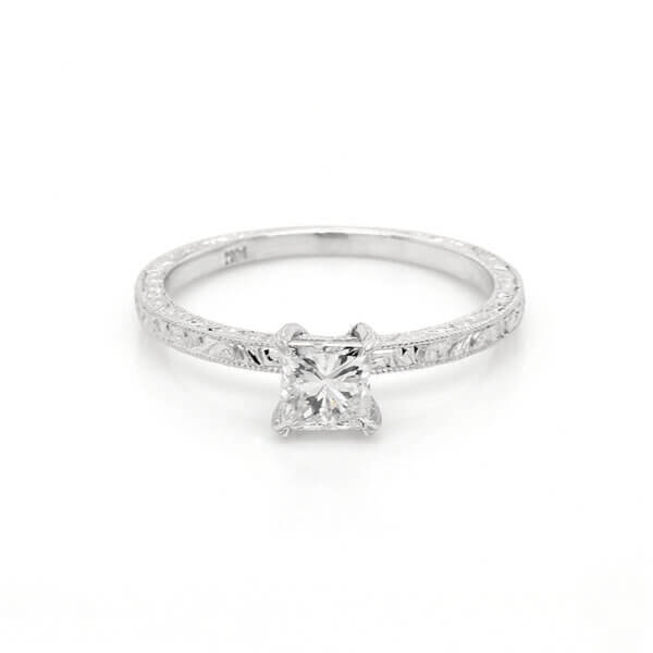 Hand engraved Art Deco princess promise ring OroSpot