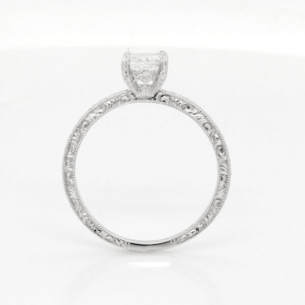 Hand engraved antique style engagement ring OroSpot