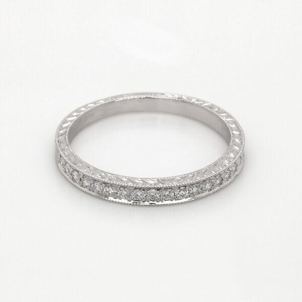 Pave Art Deco Diamond wedding band 2mm by OroSpot