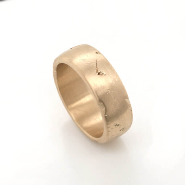 Unique textured men's wedding band OroSpot