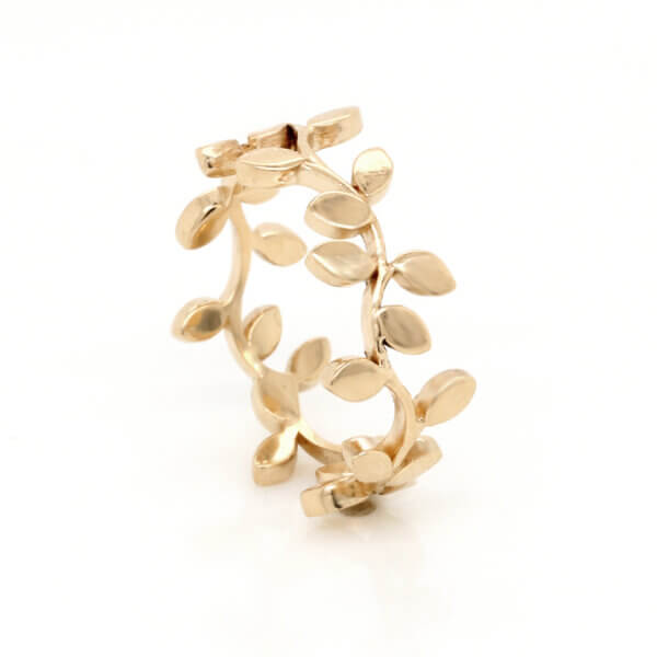 Vine leaves eternity band 14k gold by OroSpot