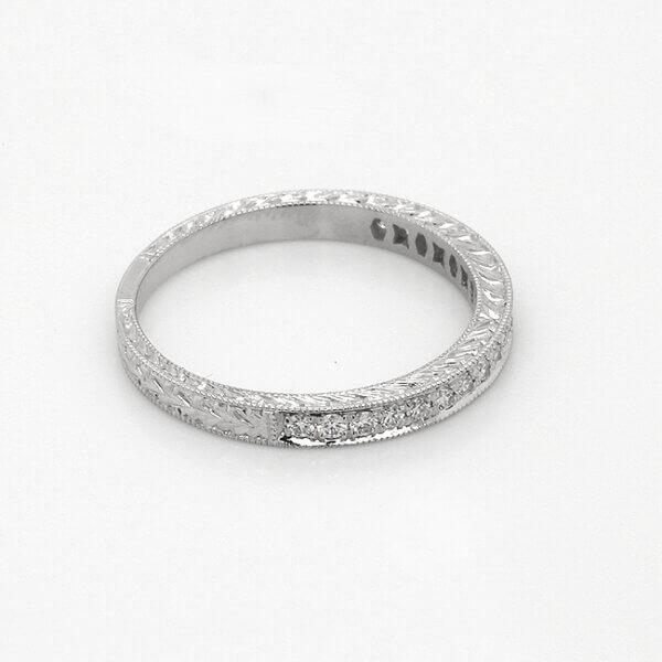 Vintage diamond bead set hand engraved band by OroSpot