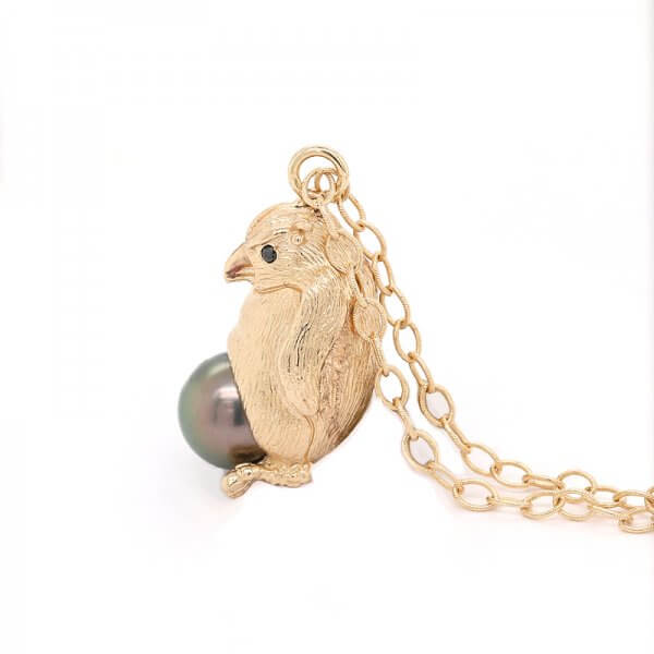 3d Penguin Tahitian Pearl Animal Pendant by OroSpot