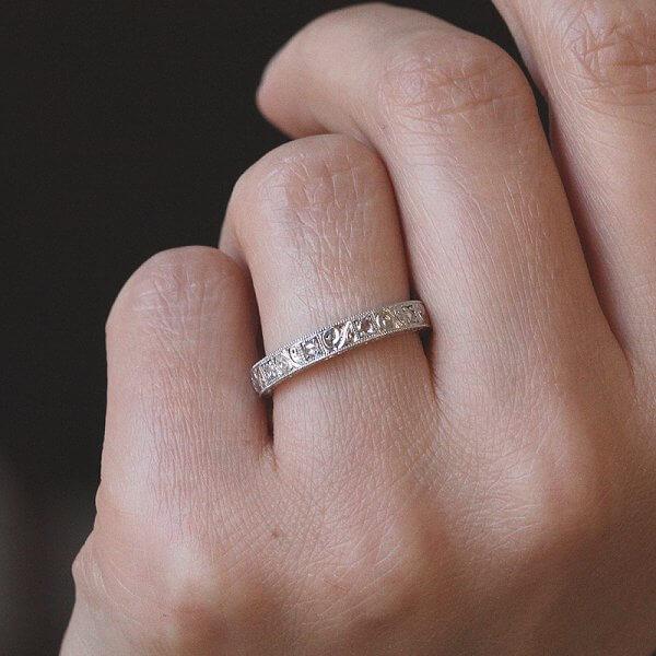 3mm gold vintage diamond stack wedding band, made by OroSpot, New York
