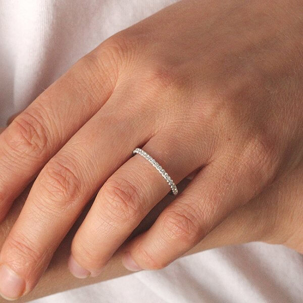 Classic delicate diamond wedding ring half way by OroSpot