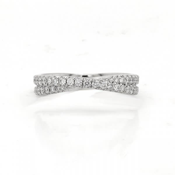 Contemporary diamond French cut wedding band OroSpot