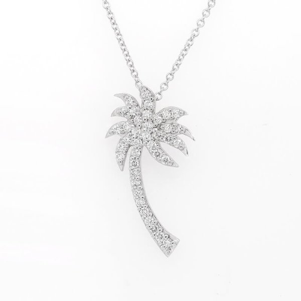 Diamond Palm Tree Pendant 14K Gold by OroSpot