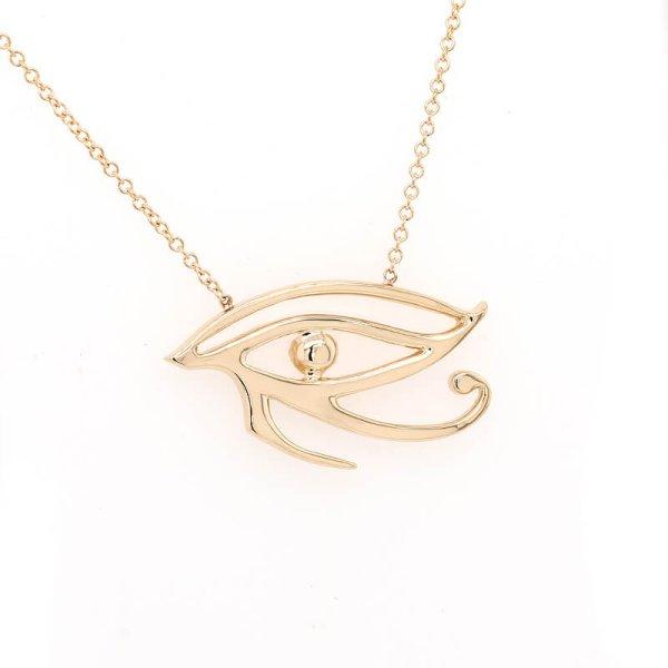 Eye of Horus Egyptian Spiritual Pendant Necklace in Gold by OroSpot