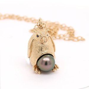 Penguin Pearl 3d Pendant Necklace by OroSpot