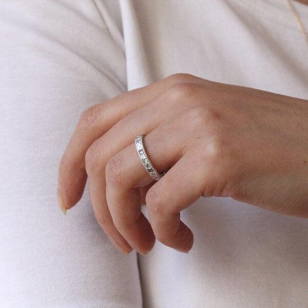Rose Cuts Diamond Eternity Ring hand carved OroSpot
