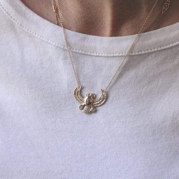 The scarab (kheper) beetle diamond gold neckalce by OroSpot