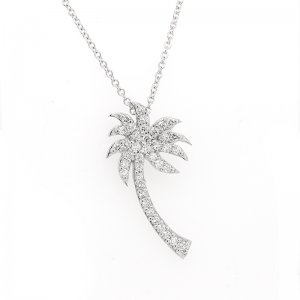 Tropical Summer Palm Diamond Necklace by OroSpot