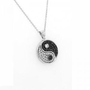 Yin Yang Tao Diamond Necklace 14k white gold by OroSpot