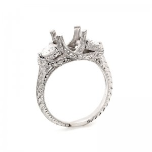 hand Engraved Antique Style Ring Mounting by OroSpot