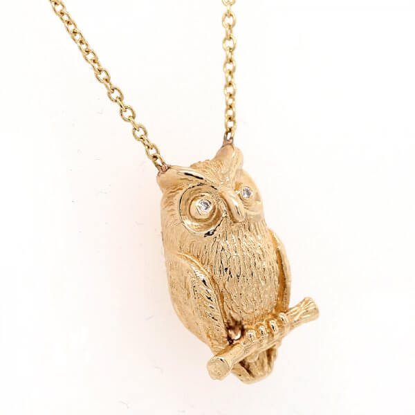 Owl Diamond Necklace 14k Gold OroSpot