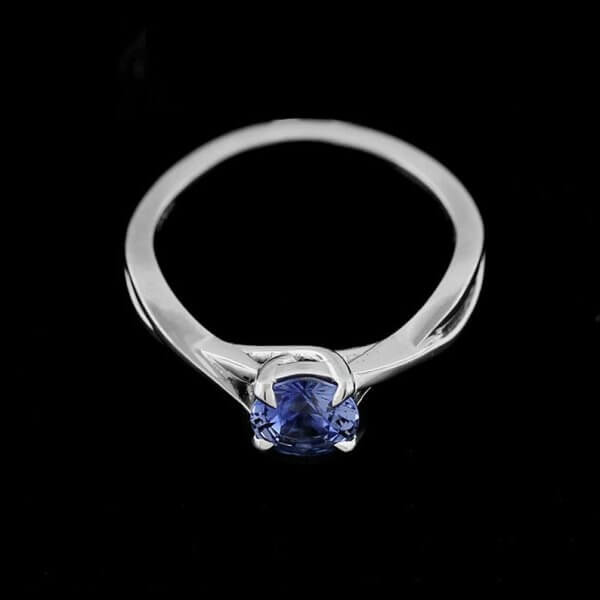 Braided, blue sapphire promise ring by OroSpot