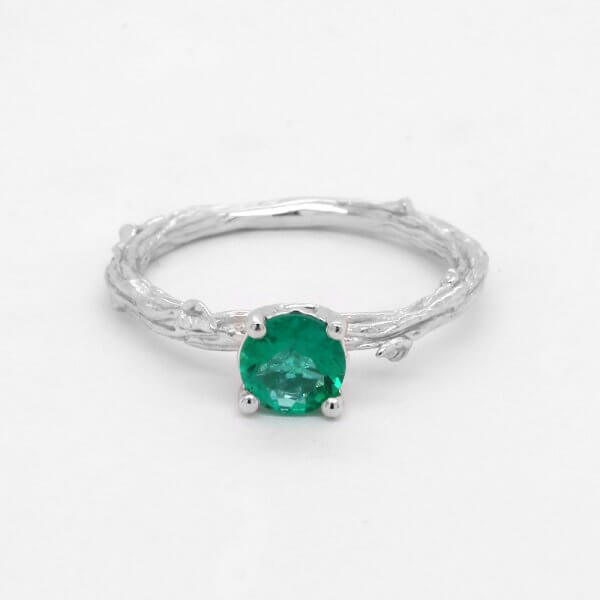 Green Emerald Nature Inspired Ring
