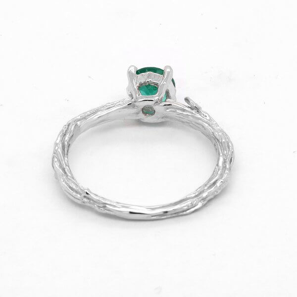 Leaves Carved Tree Inspired Ring with Natural Emerald