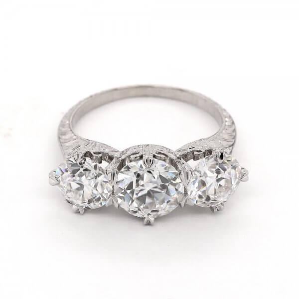 Edwardian Engraved 3 Stone Ring OroSpot