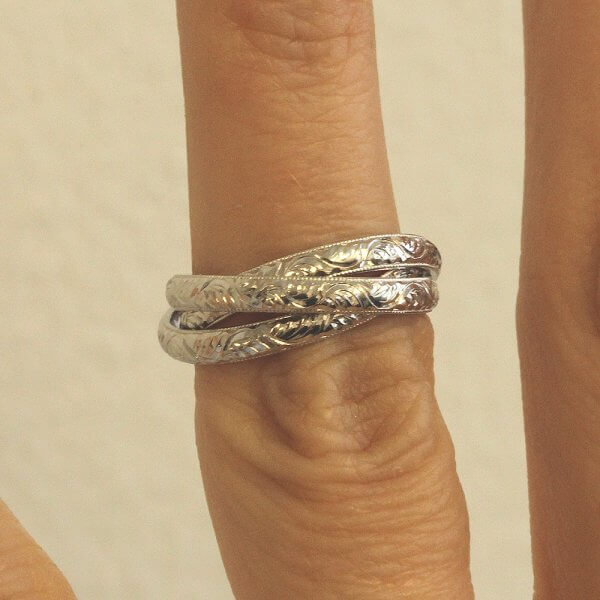 Triple rolling ring in platinum by OroSpot